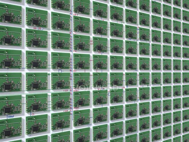 Vue du mur de petites cartes de circuit imprimé — Photo de stock