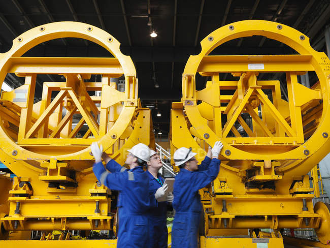 Engineers in Turbine Hall — Stock Photo