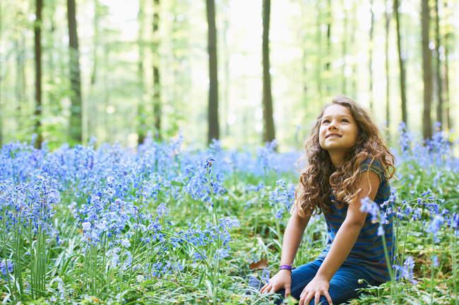 Дівчина сидить в області квітів — стокове фото