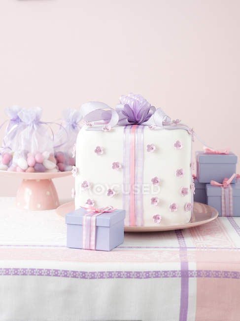 Close up of Christmas presents on table — Stock Photo