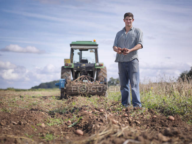 Portrait of farmer with crops of organic potatoes — Stock Photo