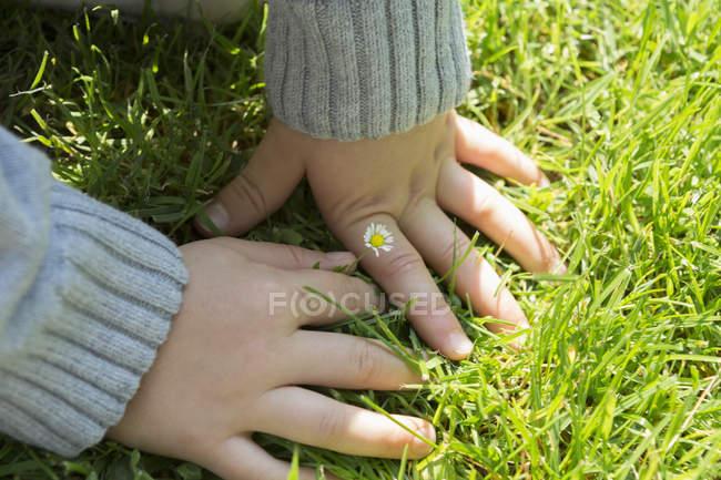 Закройте руки, прикасаясь к траве — стоковое фото