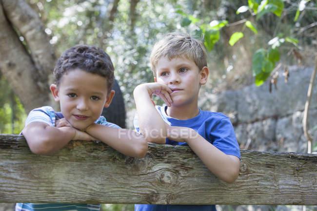 Портрет двух мальчиков, опирающихся на садовый забор — стоковое фото