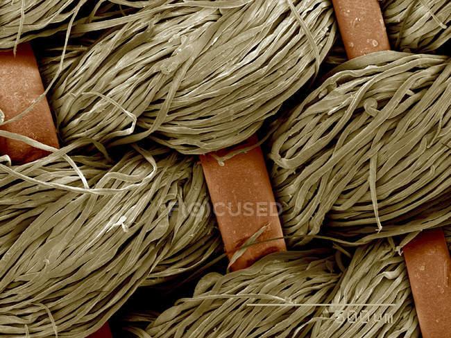 Piece of antique crinolin, horsehair and linen SEM — Stock Photo