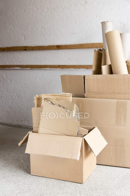 Full of cardboard boxes stacked for recycling — Stock Photo