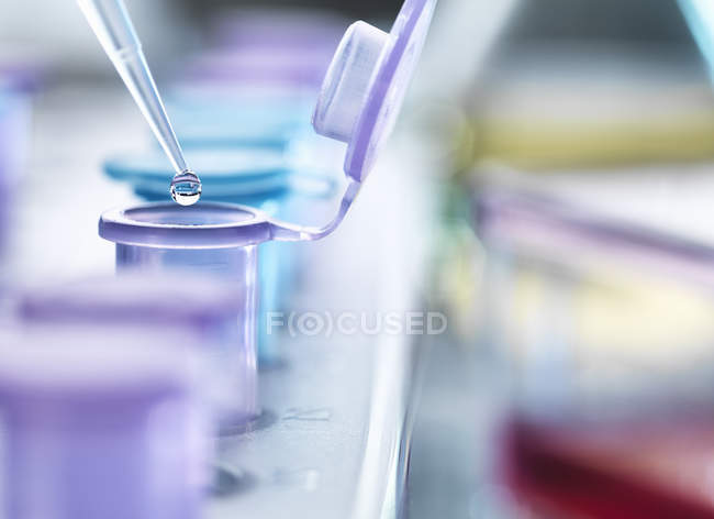 Pipetting droplets of liquid into eppendorf tubes, side view — Stock Photo