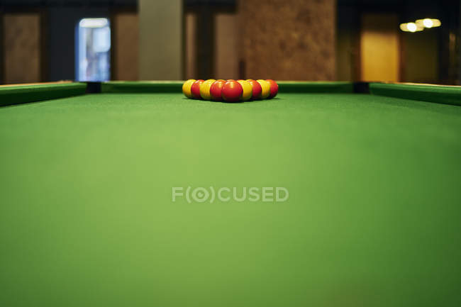 Surface Level View Of Yellow And Red Pool Balls On Pool Table U2014 Stock Photo