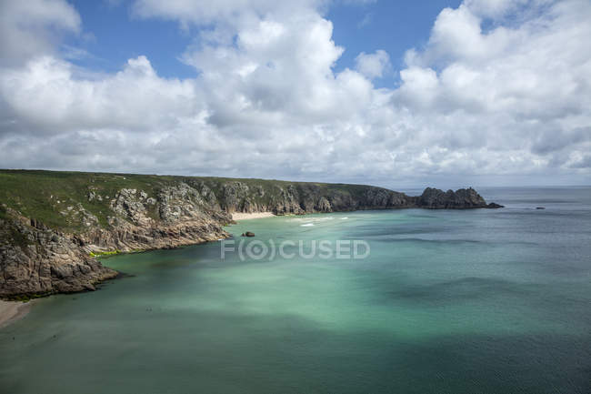 View of cliffs and coastline, Porthcurno, Cornwall, UK — Stock Photo