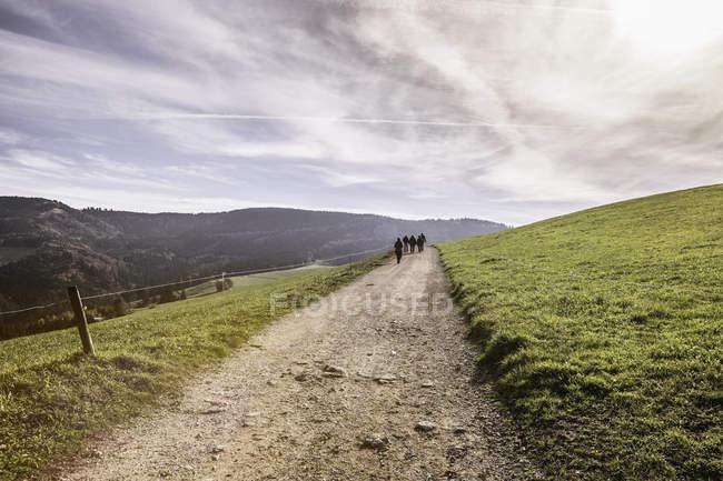 Vue du paysage avec des personnes éloignées marchant le long de la piste de terre — Photo de stock