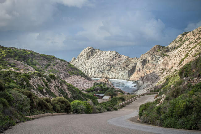 Scenic view of Coastal road, Cagliari, Sardinia, Italy — Stock Photo