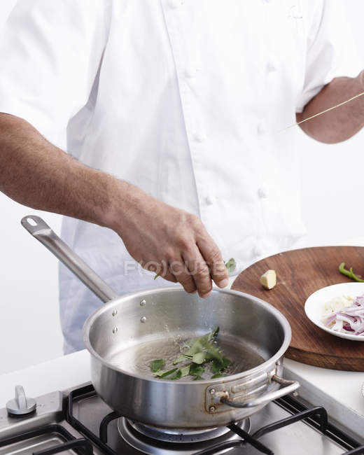 Cropped image of chief making Curry, Step by Step — Stock Photo