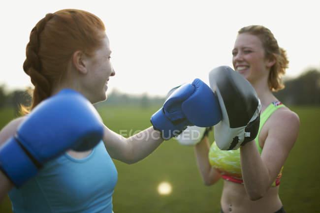 Две женщины, осуществляющие с боксерскими перчатками в парке — стоковое фото