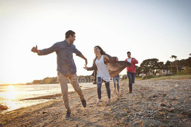 Group of friends having fun on sunny beach — Foto stock