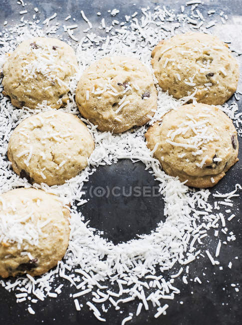 Cookies sprinkled with coconut flakes — Stock Photo