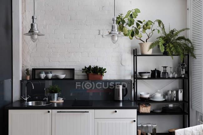 Cocina con mostrador ordenado y estantes - foto de stock