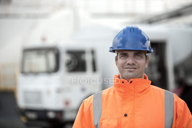 Portrait of male worker at fuel depot — Stock Photo
