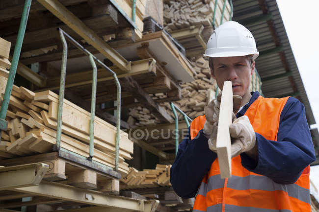 Young male worker examining wood plank in timber yard — Stock Photo