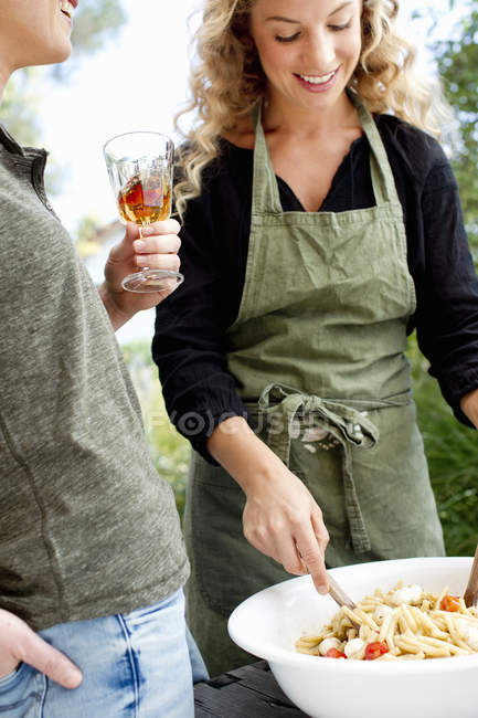 Two women preparing food — Stock Photo