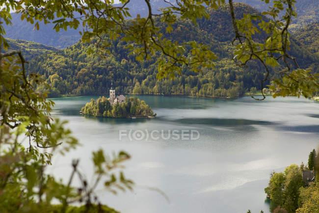 Kirche auf Bled Insel — Stockfoto