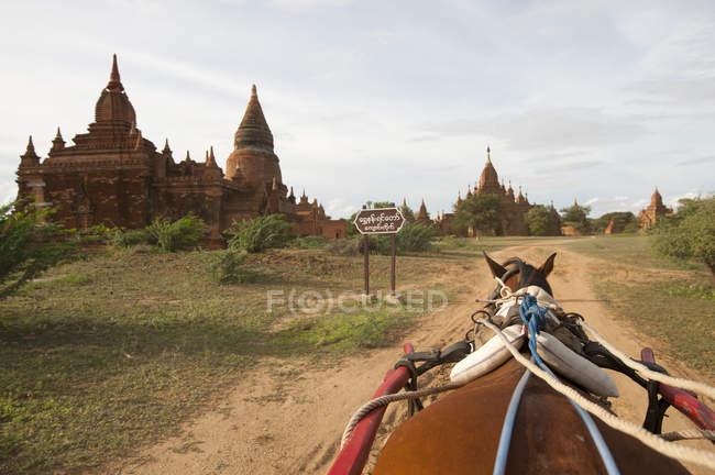 View on horseback, passing pagoda, Bagan, Myanmar — Stock Photo