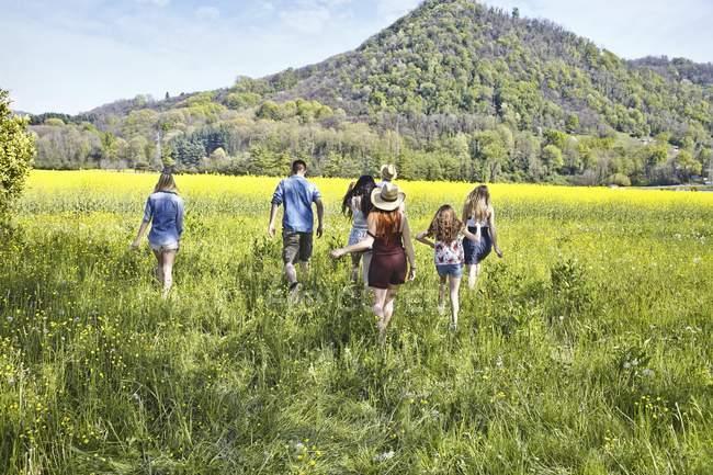 Вид заднього виду молодих друзів дорослих і дівчинка-підлітка ходьба в області — стокове фото