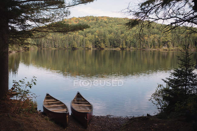 Deux canots au bord de l'eau, Algonquin, Ontario, Canada — Photo de stock