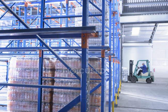 Travailleur emballant des bouteilles d'eau dans des rayonnages de stockage dans une usine d'eau de source — Photo de stock