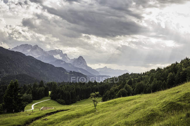 View into german Alps; highest german mountain Zugspitze in the background, Gerold, Bavaria, Germany — Stock Photo