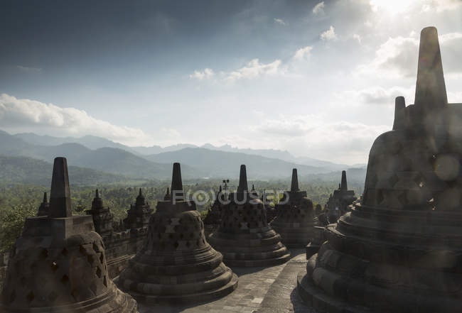 Rooftop, The Buddhist Temple of Borobudur, Java, Indonesia — Stock Photo
