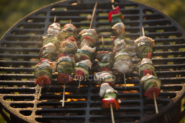 Meat and vegetable kebabs on barbecue outdoors — Stock Photo