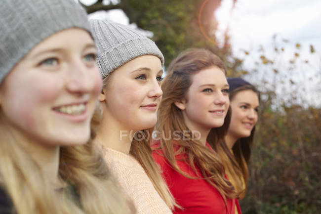 Close up of four teenage girls outdoors — Stock Photo