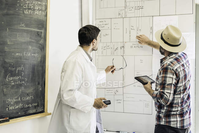 Scientists planning on whiteboard in plant growth research facility laboratory — Stock Photo