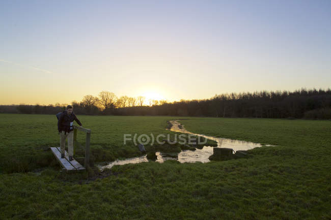 Male hiker crossing footbridge in field at sunset — Stock Photo