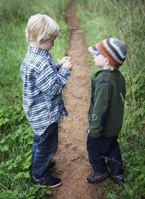 Brothers standing together on garden path outdoors — Stock Photo