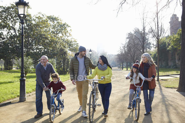 Multi generation family in park on with bicycles — Stock Photo