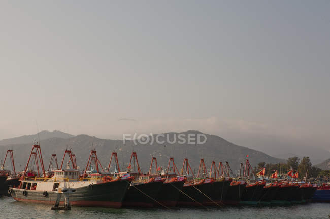 Boats moored in harbor in row — Stock Photo