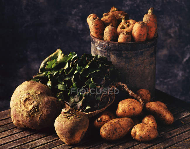 Fresh picked root vegetables on wooden surface — Stock Photo