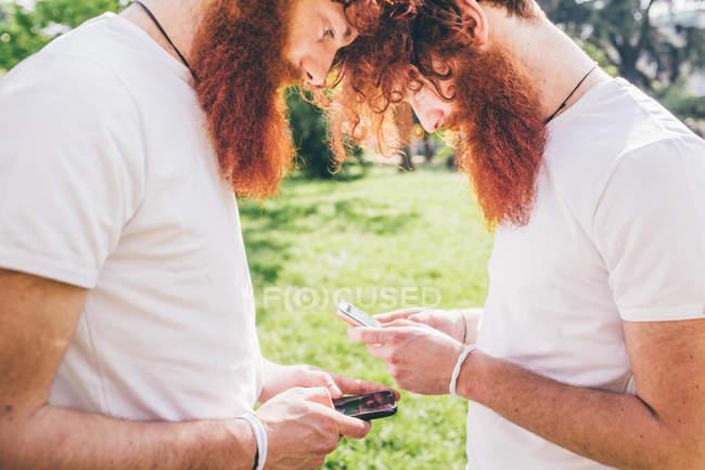 Молодые мужчины битник близнецов с красной бороды напротив друг другу текстовые сообщения на смартфонах — стоковое фото