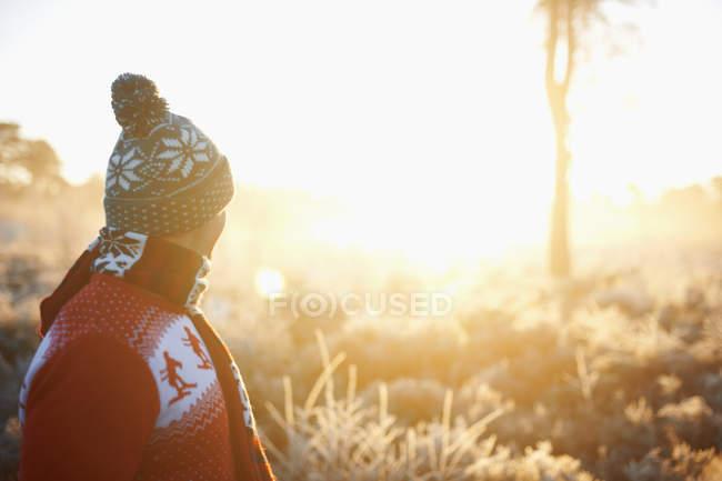 Человек в зимней одежде, смотрит на сельскую местность — стоковое фото