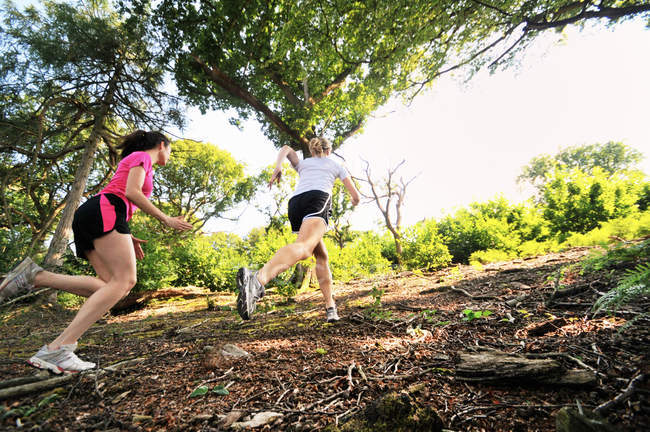 Two young female runners running up forest track — Stock Photo