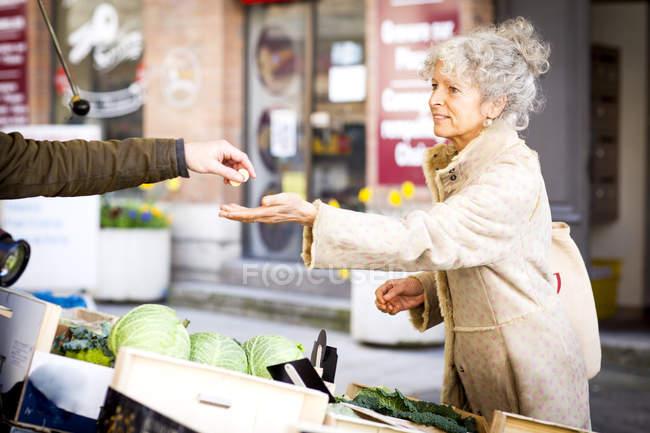 Зрілі жінки shopper купуючи овочі в місцевих французькому ринку — стокове фото