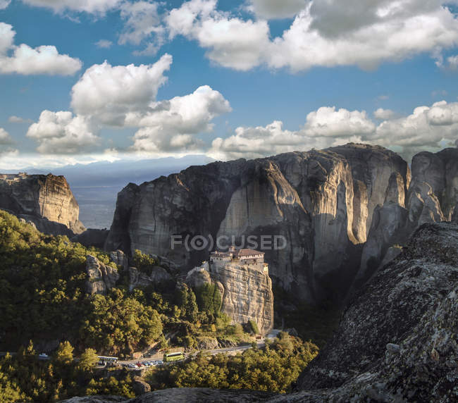 Landscape view of roussanou monastery on top of rock formation — Stock Photo