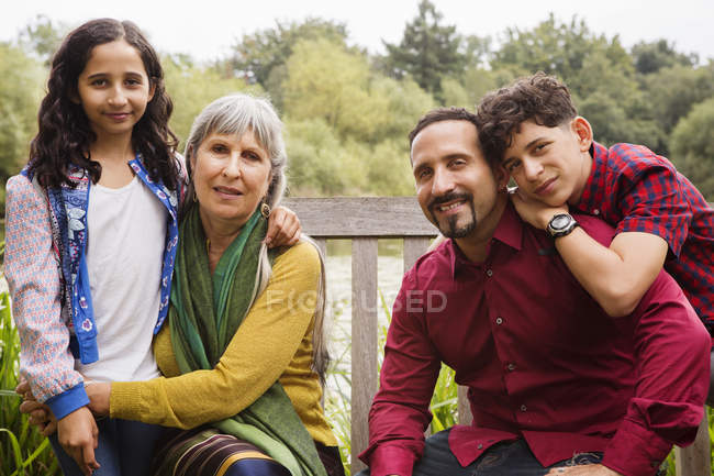 Portrait of three generation family, outdoors — Stock Photo