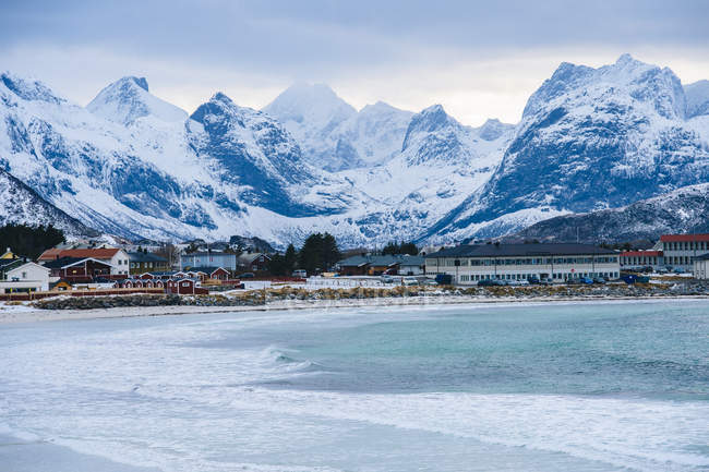 Reine fishing village covered in snow, Norway — Stock Photo