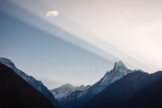 Chomrong Village Area, view of Machapuchare mountain, ABC trek, Annapurna Base Camp trek, Nepal — Stock Photo