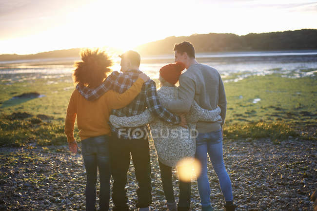 Rear view of four adult friends watching sunset over sea — Stock Photo