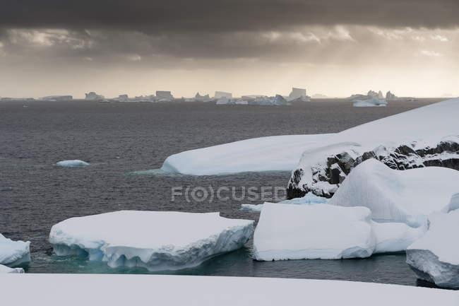 Icebergs sous un ciel orageux, chenal Lemaire, Antarctique — Photo de stock