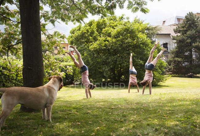 Compuesto múltiple de mujer joven haciendo handstanding en el jardín - foto de stock