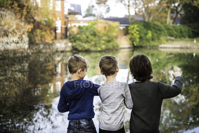 Три мальчика, стоящие у озера, вид сзади — стоковое фото