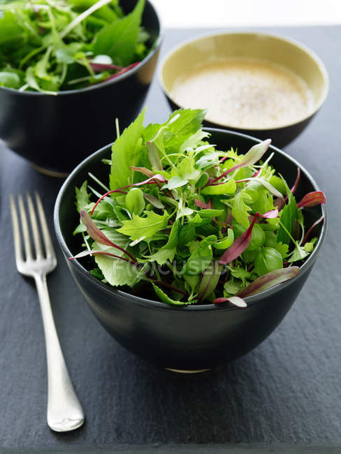 Bowl of mixed greens salad and fork on table — Stock Photo